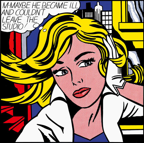 Roy Lichtenstein, M-Maybe, 1965. Oil, magna on canvas, 152.4 x 152.4 cm. Museum Ludwig, Cologne, Germany