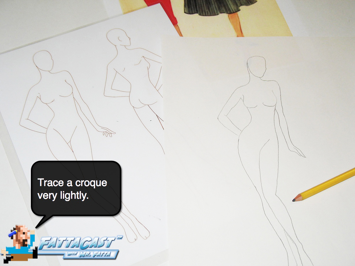 Drawing a Dior Design Step 1