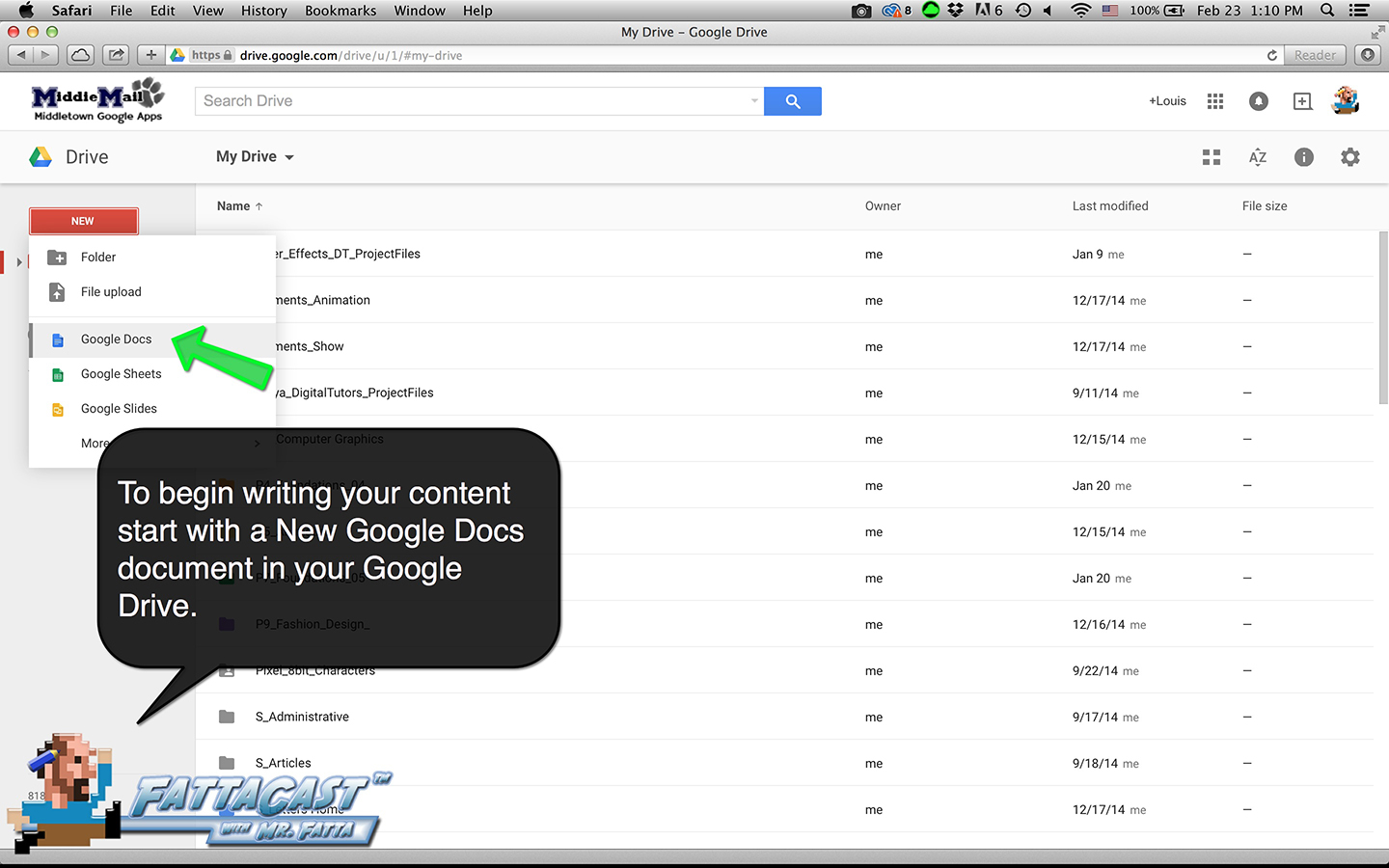 Revision: Write your content on a new slide in your Google Portfolio.