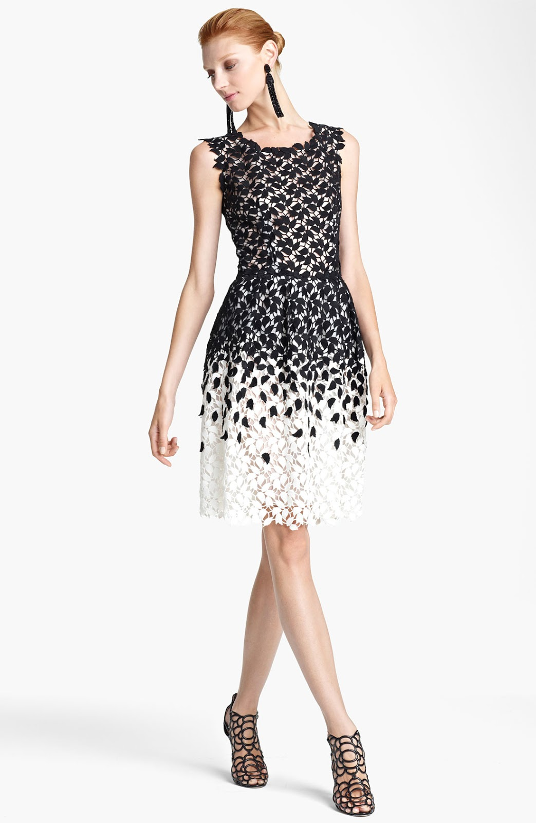Oscar De La A Ombré Lace Dress