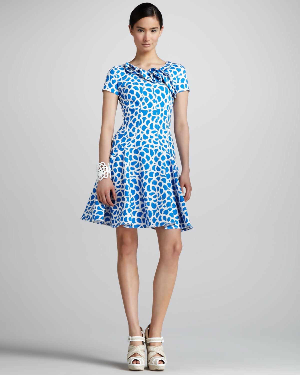 Oscar De La A Camellia Print Dress Pacific White