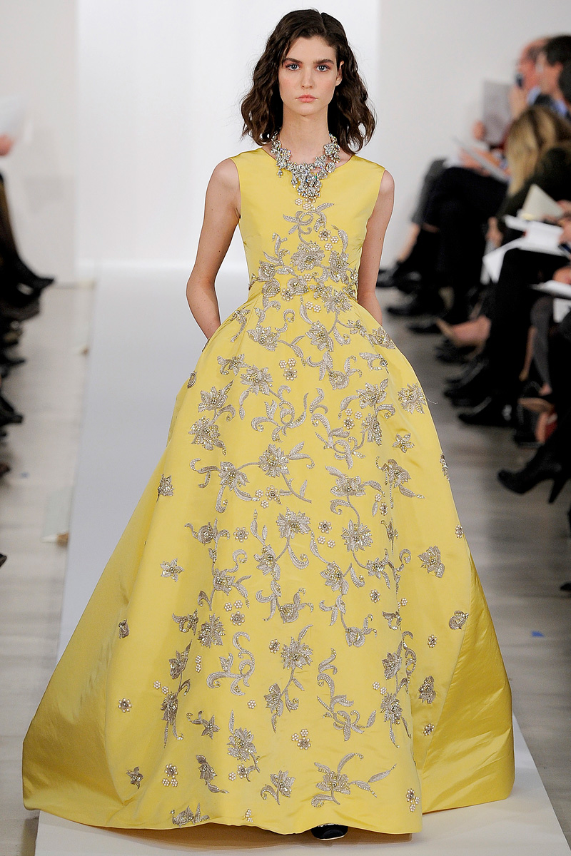 Yellow Oscar De La A Ballgown Fl Embroidered Original
